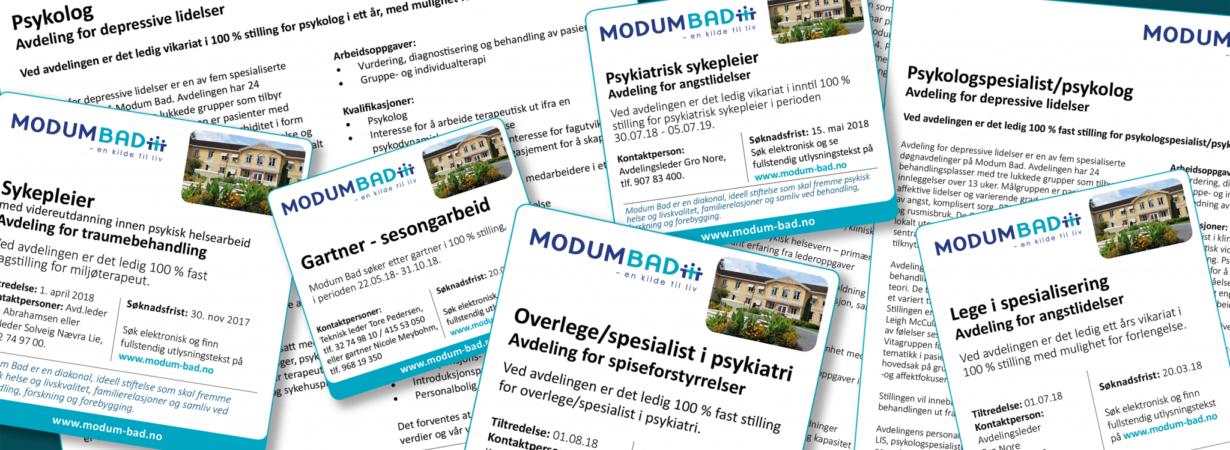 Ledige stillinger ved Modum Bad. Psykolog, psykologspesialist, sykepleier, overlege, lis-lege